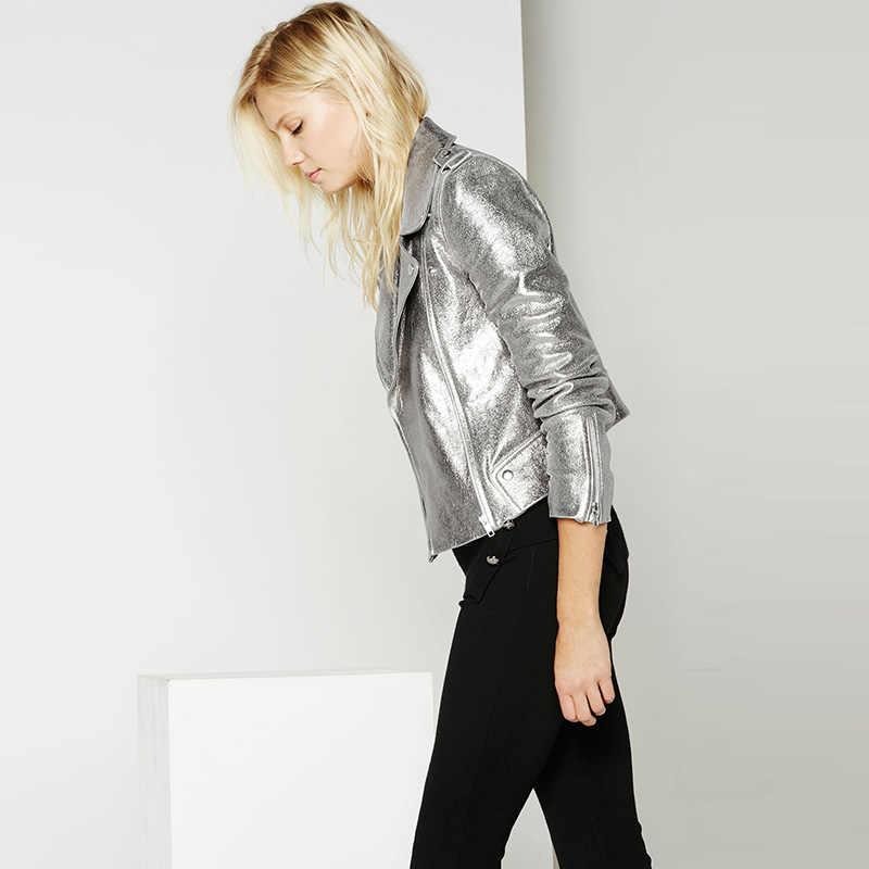 Модная короткая женская куртка на молнии с длинными рукавами и пуговицами из искусственной кожи, куртка-бомбер 2019, осенняя однотонная Серебряная короткая уличная куртка, одежда