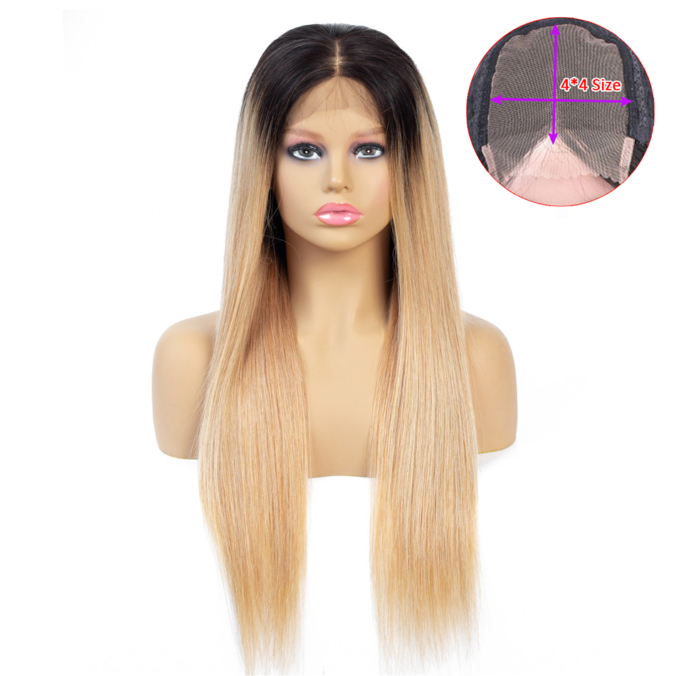 1B 27 Ombre Color Lace Closure Human Hair Wigs With Baby Hair 130% 4*4 Straight Brazilian Honey Blonde Lace Wig For Black Women