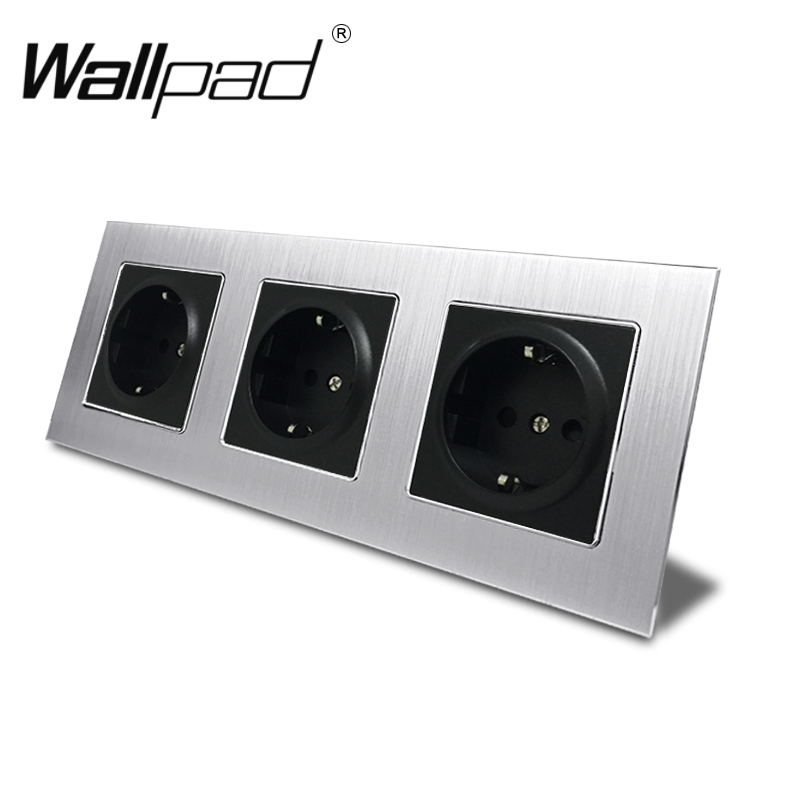 Triple EU Outlet Socket with Claws Back Wallpad 234*86mm Silver Satin Metal Panel 16A Wall Schuko EU Power Wall Socket Round Box