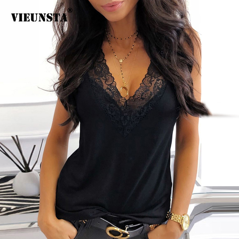 2020 Summer V-neck Lace Chiffon Blouse Shirt Spring Sleeveless Embroidery Patchwork Tank Tops Women Backless Sexy Vest Feminina(China)
