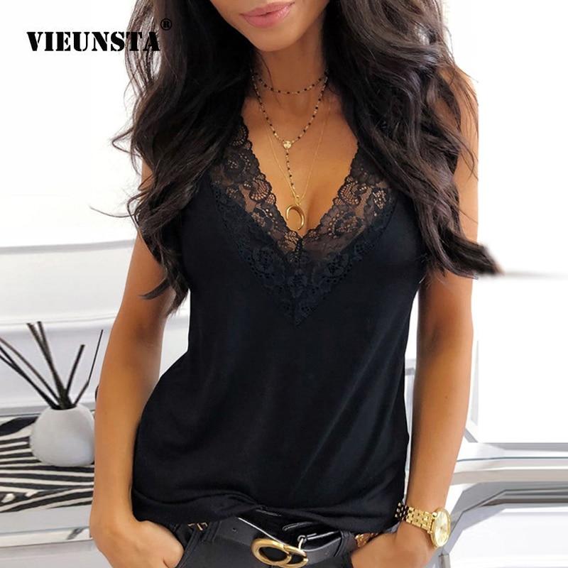 2020 Summer V-neck Lace Chiffon Blouse Shirt Spring Sleeveless Embroidery Patchwork Tank Tops Women Backless Sexy Vest Feminina
