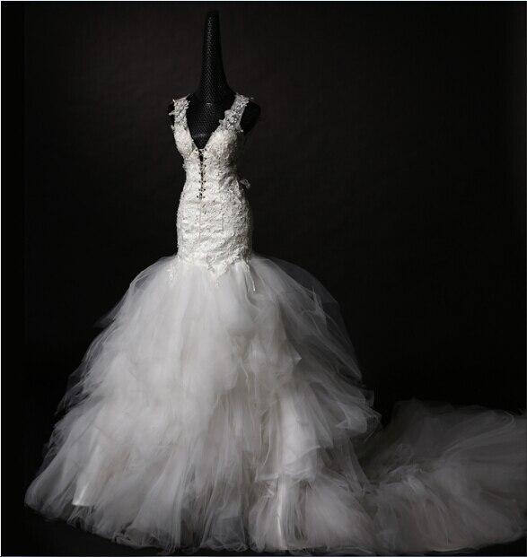 Free Shipping Casamento New Fashionable Appliques V-neck Romantic Sexy Backless Vestido De Novia Wedding Dress 2016 Bridal Gown