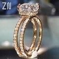 Женское Обручальное Кольцо ZN, обручальное кольцо с двойным кольцом и стразами, полностью покрытое фианитом