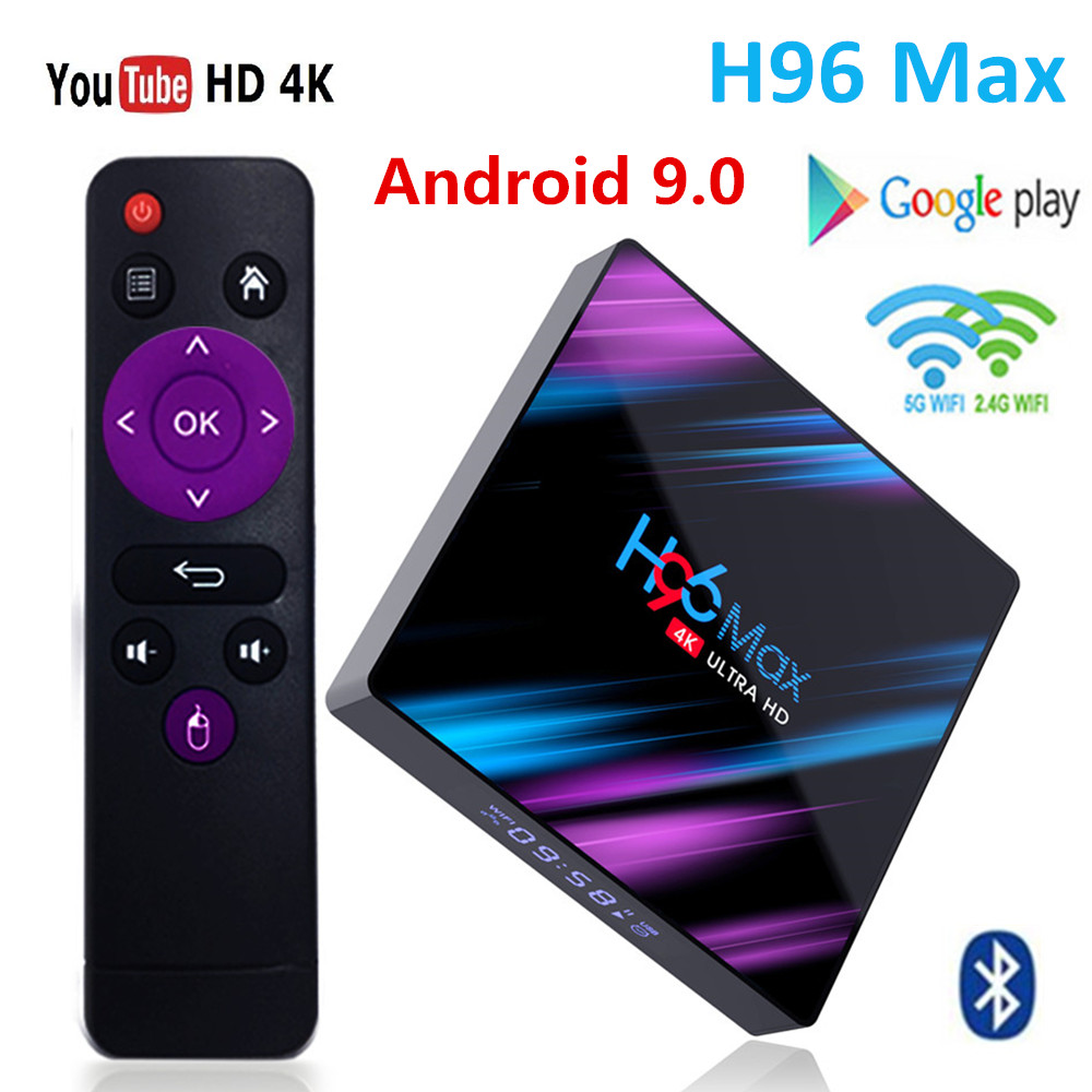 H96 MAX TV Box Android 9.0 Rockchip RK3318 4G 32GB 64GB USB3.0 H.265 WiFi Bluetooth 4.0 4K 3D Android Box Streaming Media Player