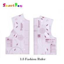 1:3 Fashion Ruler for Design in Notebook Small Clothing Pattern Drafting Tools; Tailor Sewing Pattern Making Tools for a Doll