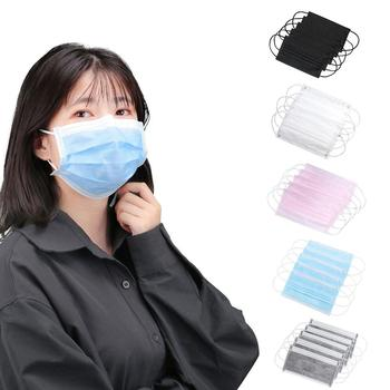 10/20/50/100 pcs Non Woven Disposable Face Mouth Mask New Solid Color Earloops Masks Black Breathable Earloops Masks