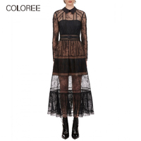 Sexy Perspective Black Lace Long Party Dress Women 2019 Spring Elegant Turn down Collar Long Sleeve Runway Designer Dress