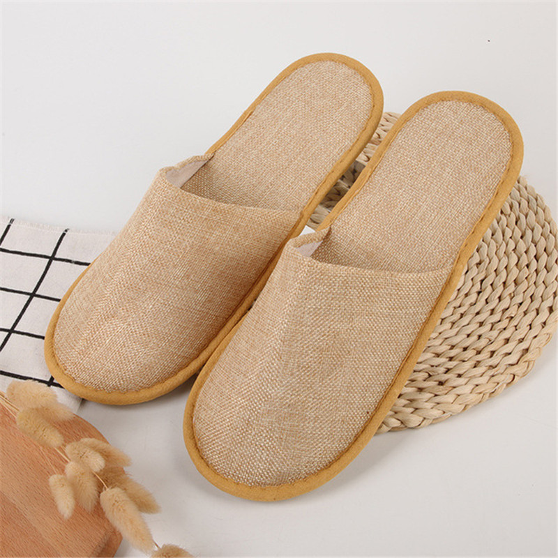 5Pairs Comfortable Homestay Linen Slippers  Hotel Travel Spa Disposable Slippers Casual Spa Adults Unisex Home Guest Anti Slip