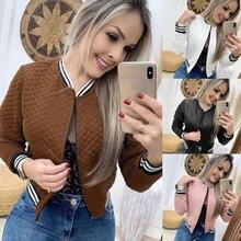 Женская рубашка с длинным рукавом приталенная бейсбольная куртка