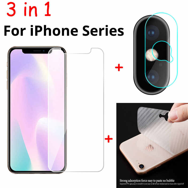 3 in 1 Soft Fiber Back Film + Front Tempered Glass + Camera Lens Film For iPhone 11 Pro Max Screen Protector For iPhone 11 2019