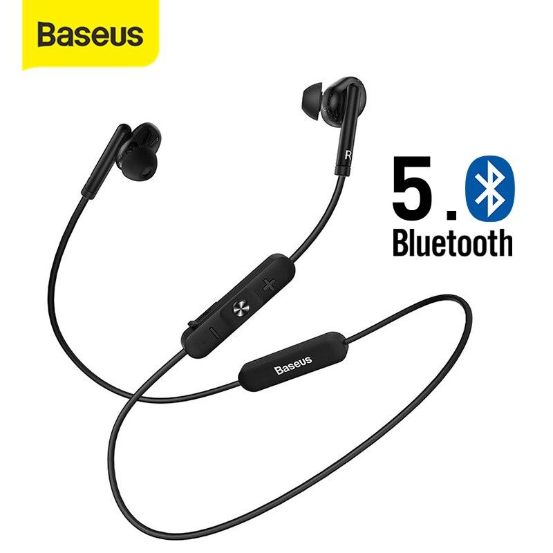 Baseus auriculares inalámbricos con Bluetooth, dispositivo deportivo con banda para el cuello, estéreo, alta fidelidad, soporta teléfonos iOS y Android, llamada HD Auriculares y audífonos  - AliExpress