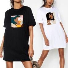 Платье футболка женское с коротким рукавом Повседневная Свободная