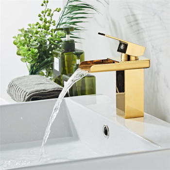 New Arrival Crane Gold color Waterfall Faucet Sink Mixer Tap Vanity Hot Cold Water Bathroom Faucets Single Handle Basin Faucet 1