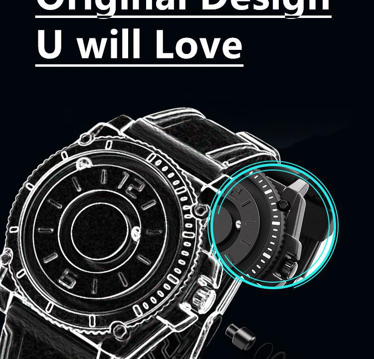 He3ede40ef53445138fd7aca752f5d11cC Eutour magnetic watch parallel time and space black technology men's couple wristwatch women's wristwatch personality gel wristb