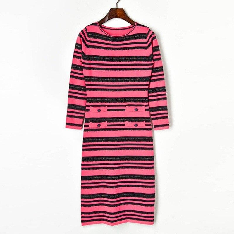 Haute qualité 2019 couleur automne or ligne rayure à manches longues col rond tricot directement cartouche robe femme S92651.