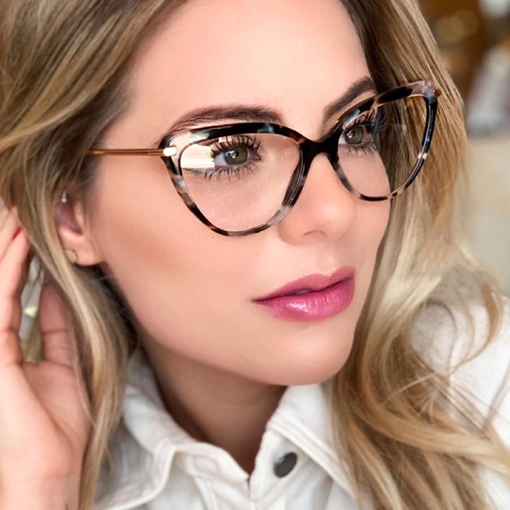 Kachawoo Prescription Glasses Cat Eye Retro Gold Tr90 Optical Frame Eyeglasses Women's Clear Lens Pattern Style New Year Gifts