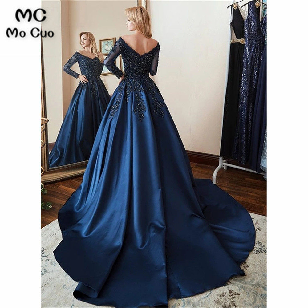 Elegant Dark Blue   Evening     Dresses   Off Shoulder Prom Party   Dress   Long Sleeve Appliques Beaded Hard Satin Robe De Soiree Longue
