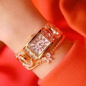 Image 5 - Vrouwen Horloges Dames Quartz Horloge Vierkante Diamanten Luxe Merk Armband Horloge Voor Vrouwen Strass Vrouwelijke Horloge Relogios