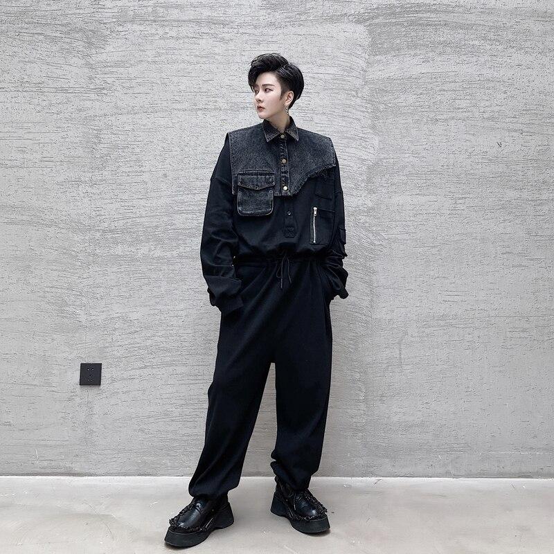 Men Removable Denim Vest Long Sleeve Casual Jumpsuit Pant Male Streetwear Hiphop Loose Harem Pants Joggers Sweatpants Overalls