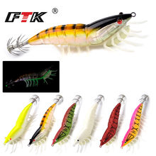FTK Squid Hook 1PC 3.0g/3.5g 6 Colors Fishing Lures Squid Jig Bait noctilucent Shrimp Lure 3D eyes For Fishing Tackle(China)
