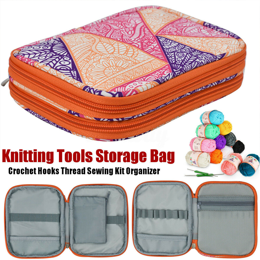 Double Layer Sewing Knitting Tool Organizer Storage Case Travel Carrying Crochet Hook Bag Portable Compartments Needles Pocket