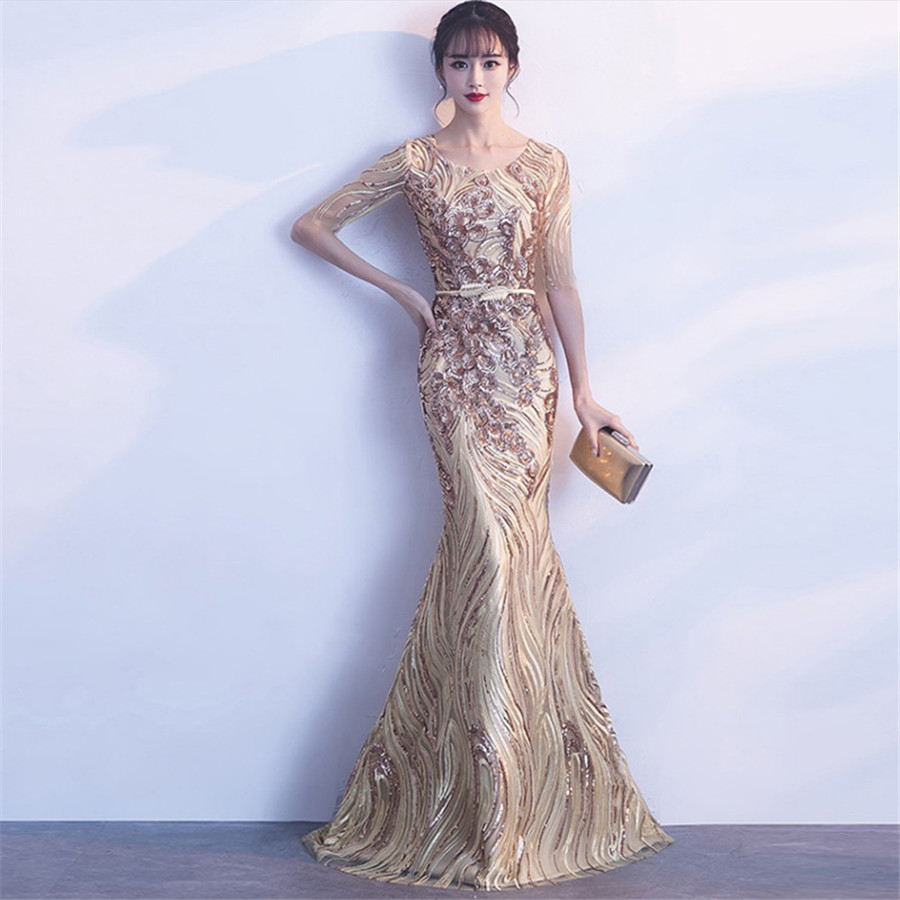 Evening Dresses Floor Length Sequin Robe De Soiree 2019 New O-neck Short Sleeve Formal Dress Elegant Mermaid Evening Gown F274