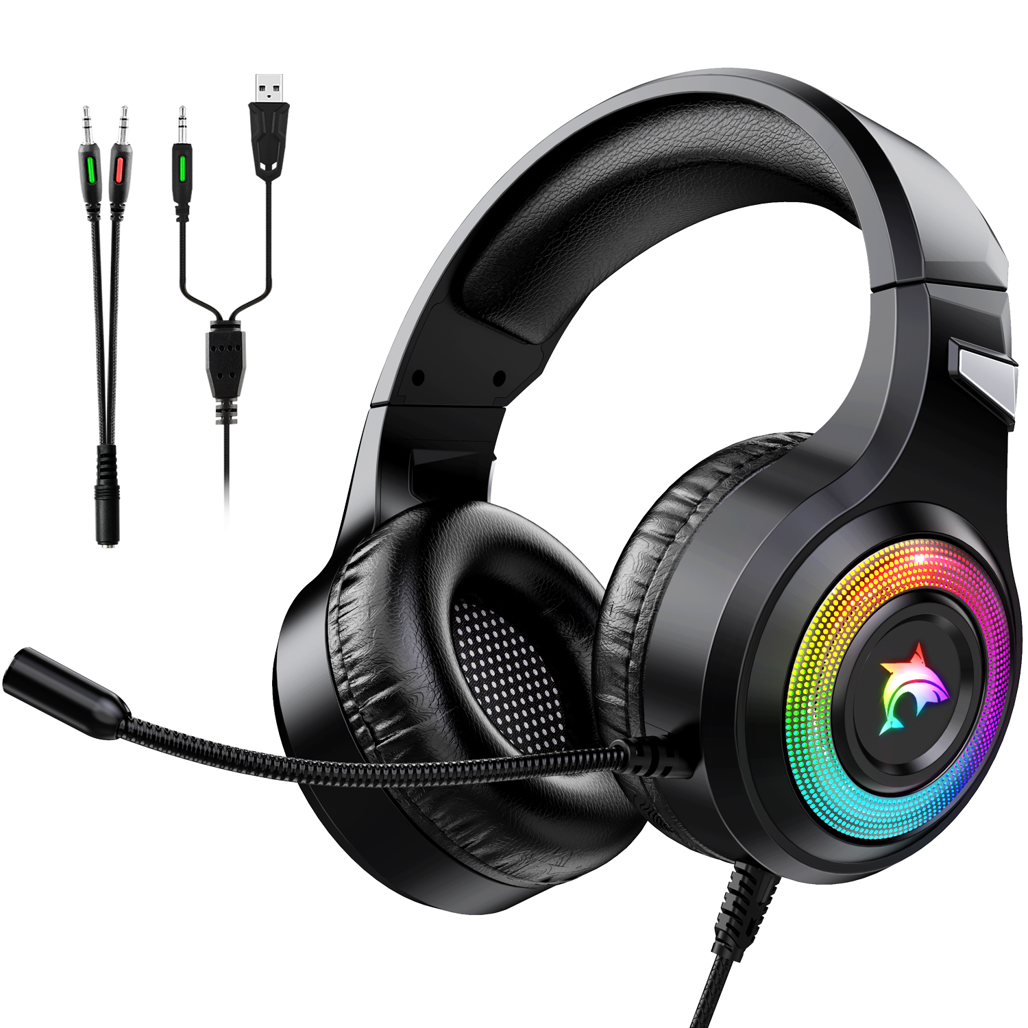 Game Headphones Bass Stereo Over-Head Earphone Casque PC Laptop Microphone Wired RGB Gaming Headsetst For Computer PS4 Xbox