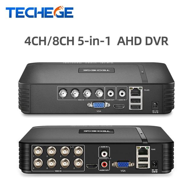 Techege 4 kanal 8 kanal AHD DVR AHD M 720P/960H CCTV DVR 4CH 8CH Mini hibrid HDMI DVR destek IP Analog kamera rusya stok