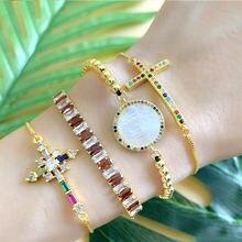 Лидер продаж женский браслет с золотым цирконием радужным кубическим