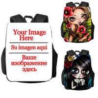 15/17 Inch Custom Your Image Logo Name Backpack Replaceable Pattern Cool Gothic Skull Bookbag Student School Bag Women Rucksack