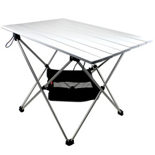 Mesa plegable de campamento de aleación de aluminio, mesa de acampada versátil, portátil y ligera, mesa que se dobla