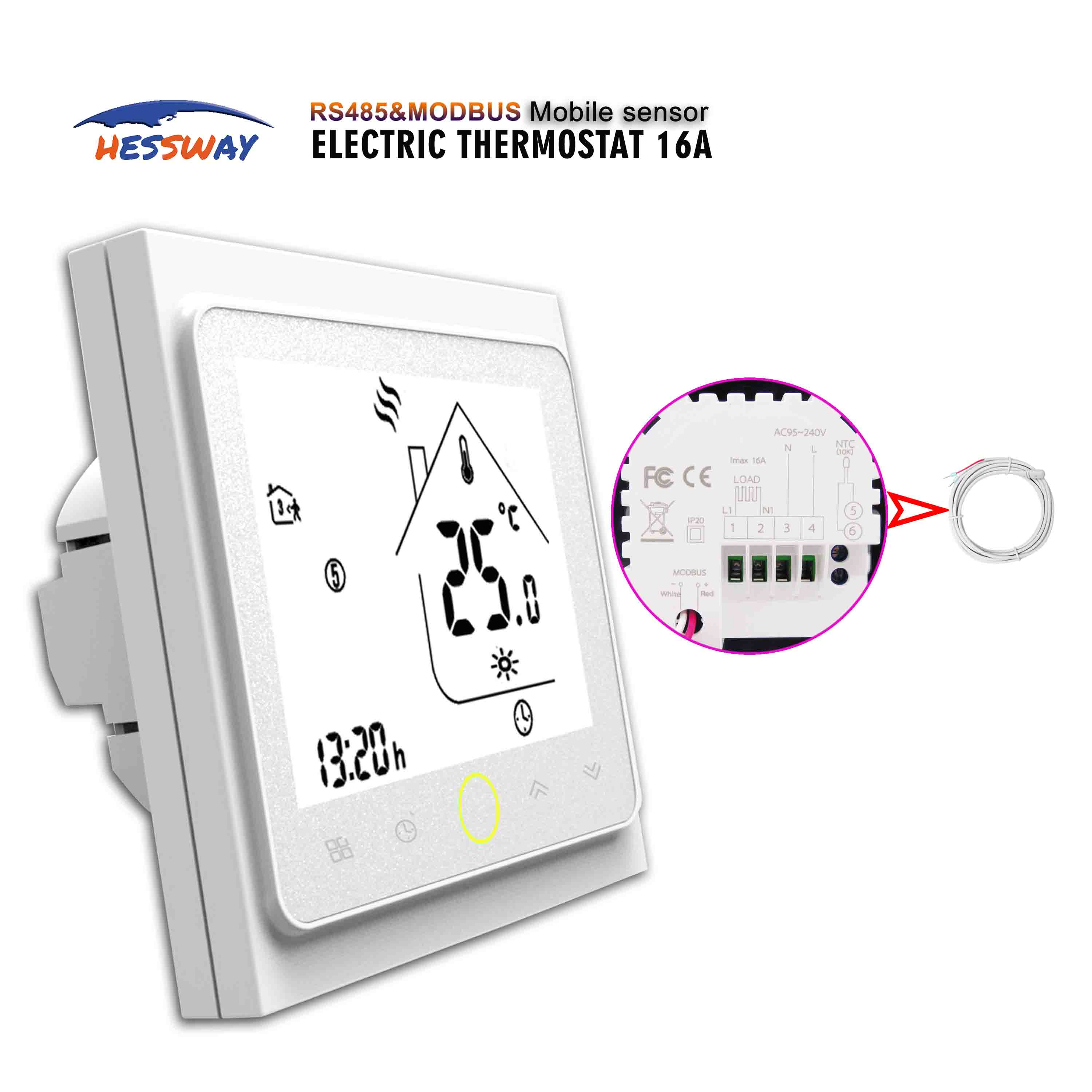 Promote£RS485&MODUS digital touch screen thermostat heating for dual sensor electric heat 16A