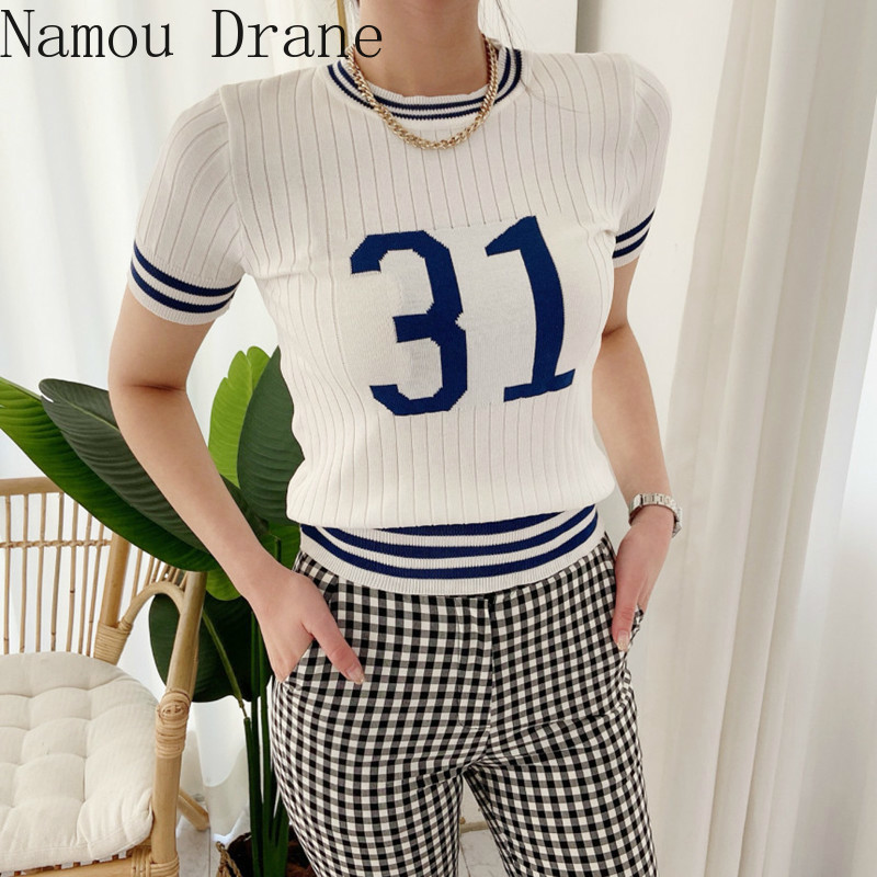 2020 Summer Korean Letters Knitted Tshirts Tops Women Short Sleeve O-neck Slim Fashion Casual Female Tees T-shirts Femme