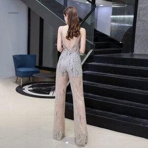 Image 2 - Combinaison de luxe pour femmes, perles lourdes scintillantes, sexy, pantalons formels, tenue de soirée