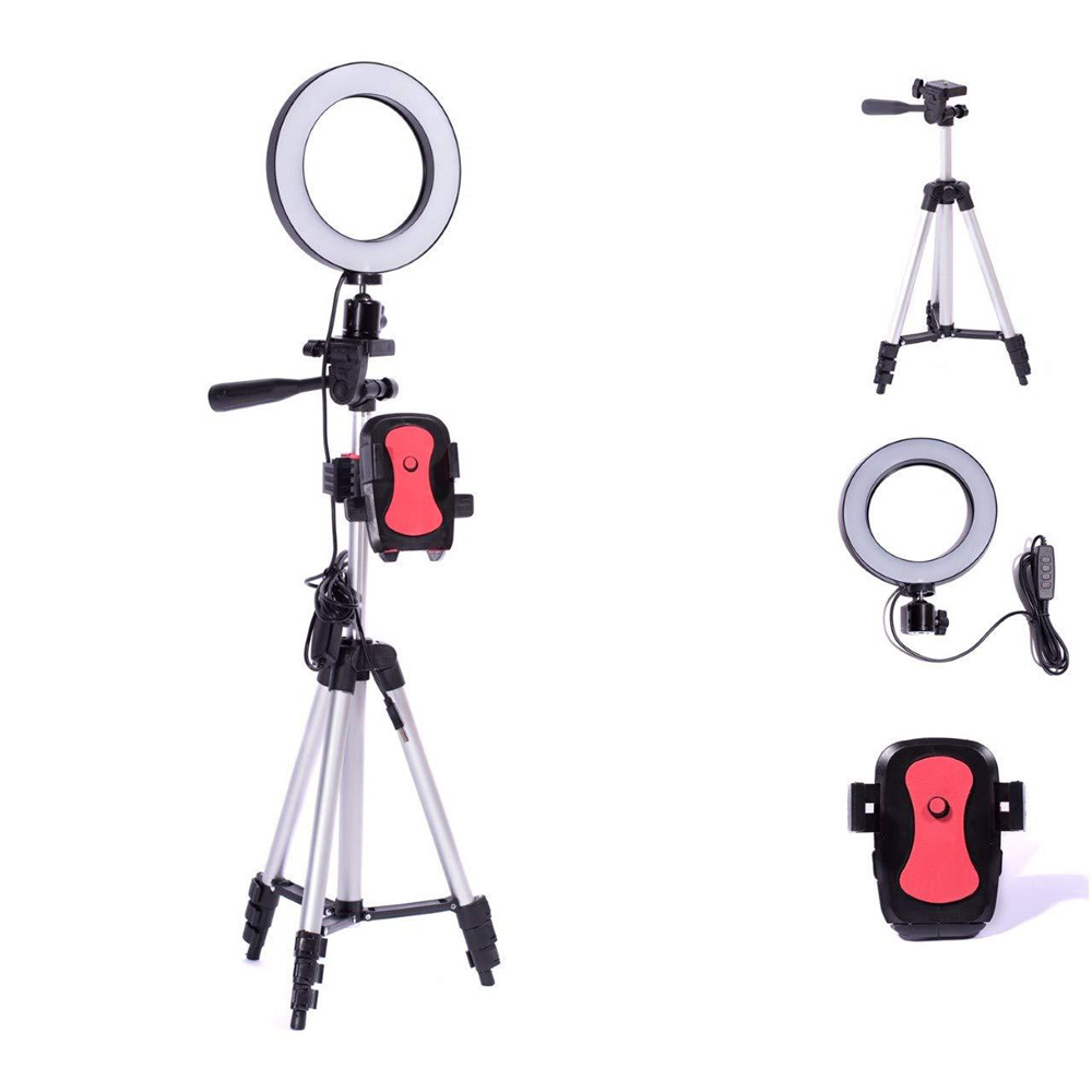 5.7 Inches Ring Light With 39.3 Inches Tripod Photography Dimmable LED Selfie Ring Light Youtube Video Holder Tripods