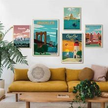 New York Netherlands Moscow London Vintage Travel Cities Landscape Art Painting Silk Canvas Poster Wall Home Decor