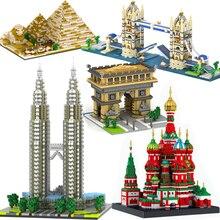 Architecture Town Bridge London Big Ben Arc de Triomphe Paris Taj Mahal Pyramid Building Blocks Kit DIY Christmas Gifts стоимость