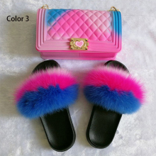Handbag-Bag Slippers Fluffy Women's Fur Four-Seasons Wearable Jelly Fox-Hair Colorful