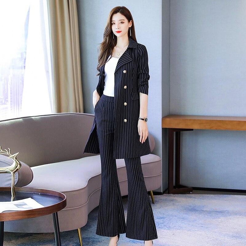Moda negócios calças ternos uniforme formal duplo breasted jaqueta e calça preto listrado longo blazer define feminino ol 2 peças terno - 2
