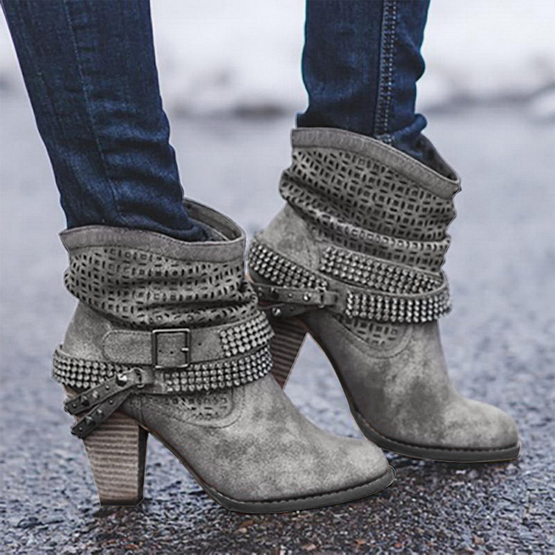 Image 3 - Litthing/зимние ботинки; женские полусапожки на высоком каблуке с заклепками и кристаллами; повседневная женская обувь из искусственной кожи с пряжкой; Botines Mujer; 2019-in Полусапожки from Обувь