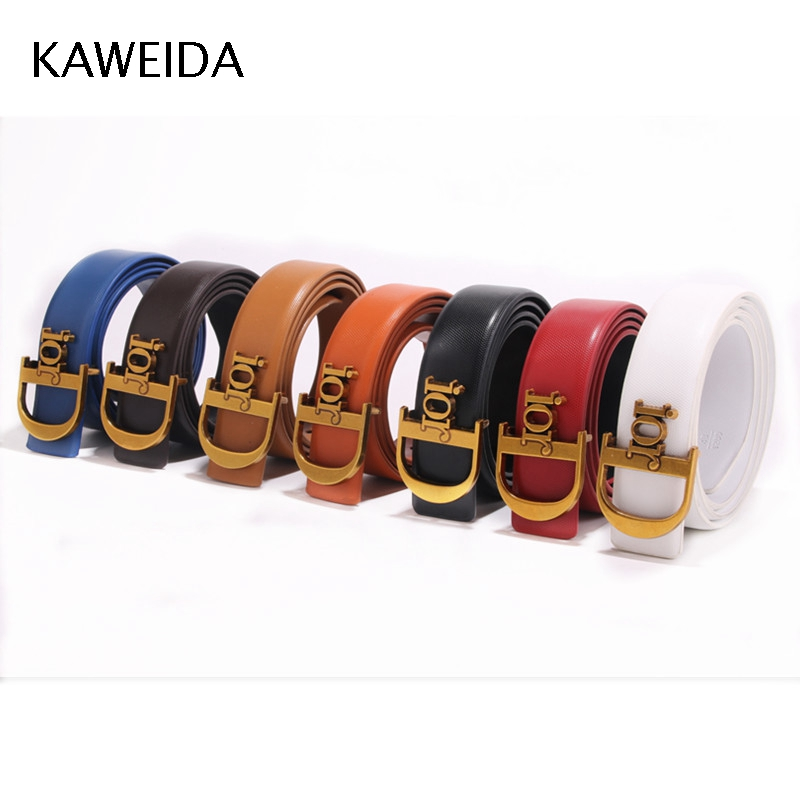 CDF 2019 Designer   Belts   Men Women High Quality Trending Luxury Brand Smooth Buckle Genuine Leather Waist   Belt   Casual Cinto Kemer