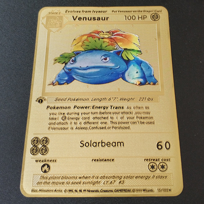 Покемон Игры Аниме битва карта золотая металлическая карточка Чаризард Пикачу коллекция карточная фигурка Модель Детская игрушка подарок - Цвет: Venusaur