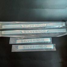 สำหรับChevrolet Silverado 1500 2500 3500 2016 2021ประตูSill Scuff Plate GuardสแตนเลสKickเหยียบสติกเกอร์รถอุปกรณ์เสริม
