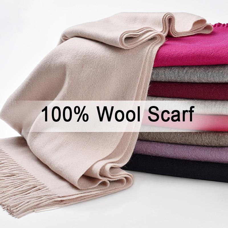 Women 100% Pure Wool Scarf Winter Cashmere Echarpe Wraps For Ladies Solid Foulard Femme With Tassel Warm Merino Wool Scarves