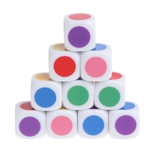 10pcs 15mm Multicolor Acrylic Cube Dice Beads Six Sides Portable Table Games Toy 652D