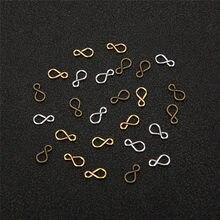 100 шт./лот 8 мм S-образная застежка-крючок, металлические Концевики золотого и серебряного цвета для «сделай сам», аксессуары для ювелирных из...