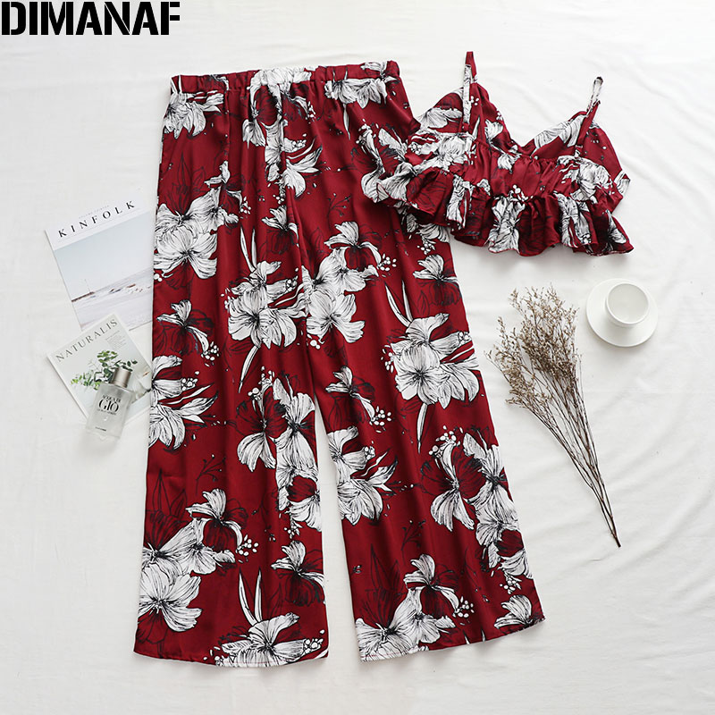 DIMANAF Plus Size Women Sets Suits Summer Holiday Beach Style Sexy Lady Tops Long Pants Loose Casual Oversize Print Floral 2020