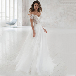 Smileven Hochzeit Kleid Weg Von Der Schulter Appliqued Braut Kleider EINE Linie Elegante Spitze Hochzeit Brautkleider 2019