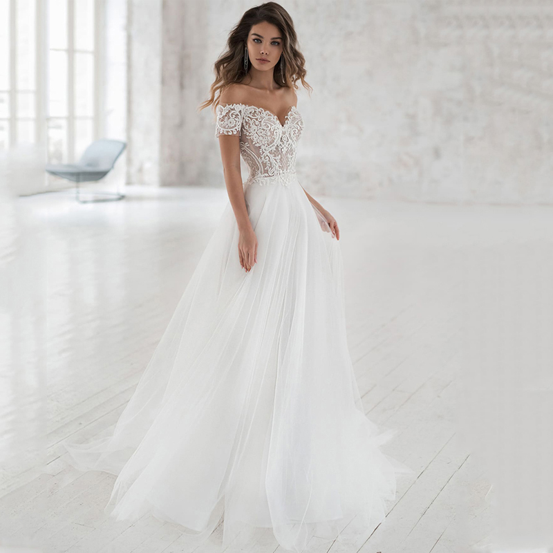 Smileven Wedding Dress Off The Shoulder Appliqued Bride Dresses A Line Elegant Lace Wedding Bridal Gowns 2019