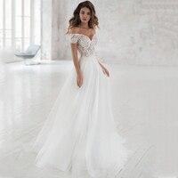 Smileven Wedding Dress Off The Shoulder Appliqued Bride Dresses A Line Elegant Lace Wedding Bridal Gowns 2019